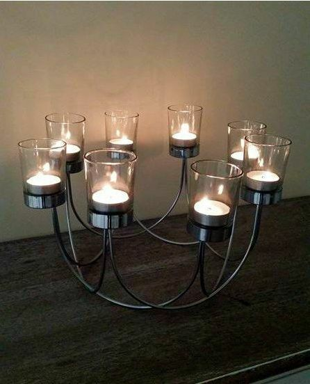 Beautiful Chrome Tea Light Glass Candle Holder Wedding