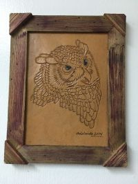 """HAND TOOLED LEATHER ART, OWL ,FRAMED,10""""X 8"""",HAND CRAFTED ..."""