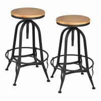 Set of 2 Vintage Bar Stools Industrial Metal Design Wood