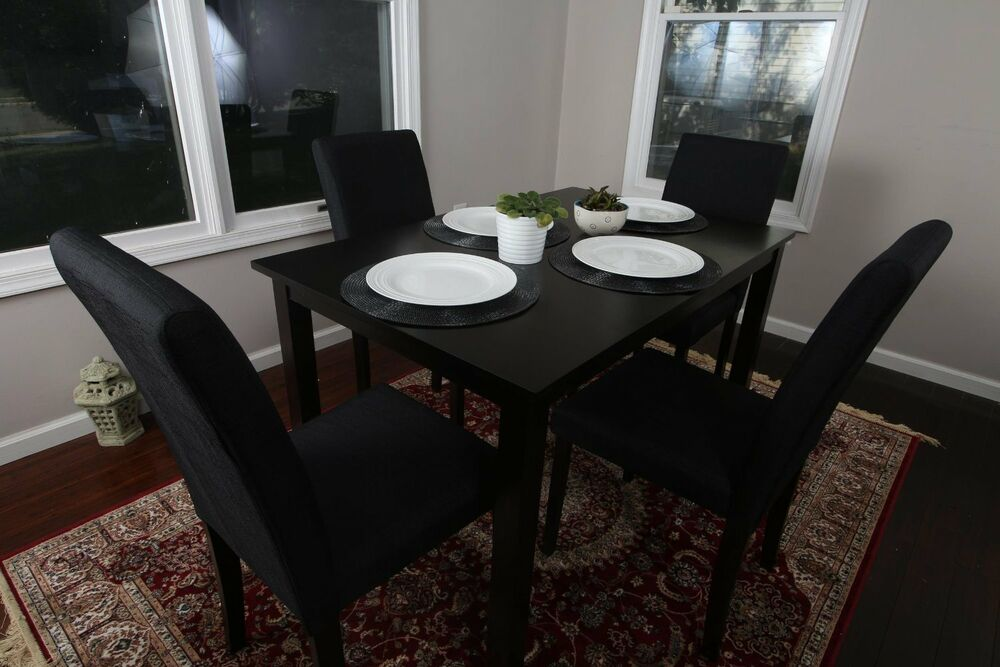 5pc Espresso Dining Room Kitchen Set Table 4 BLACK Fabric