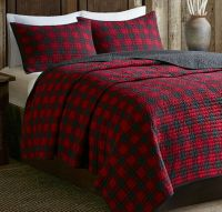 CABIN BUFFALO CHECK Full Queen QUILT SET : COUNTRY WESTERN ...