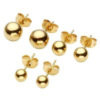 Men Women's 18K Gold Plated Ear Stud Earrings Ball Bead