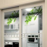 Removable Green Leaf Branch Window Decal Wall Mural Glass ...