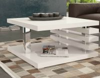 White Square Coffee Table Storage Wood Living Room Small ...