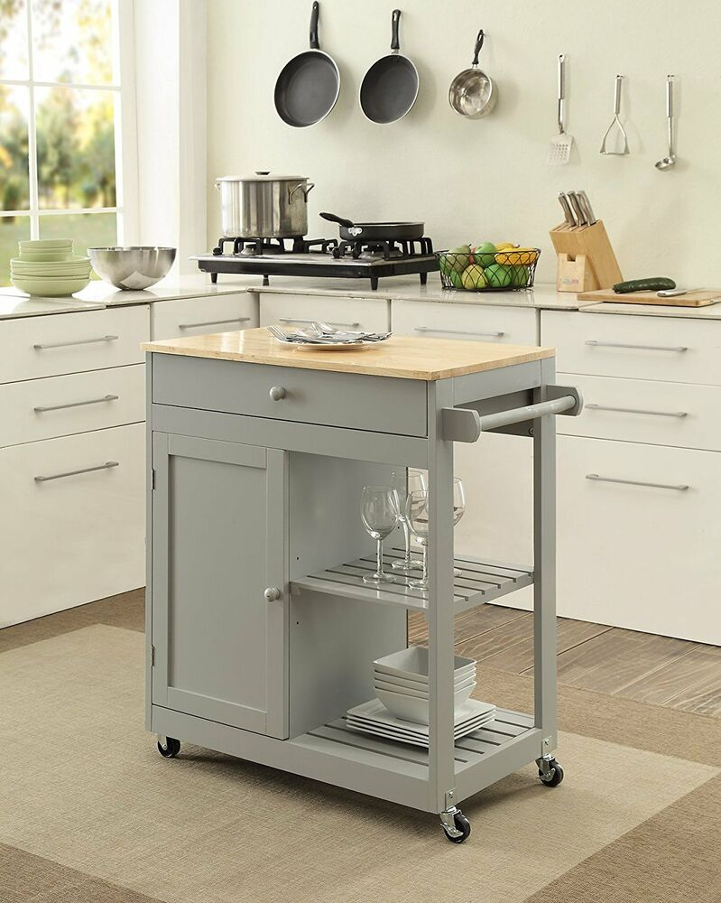 KITCHEN ISLAND on Wheels Mobile Dining Room Storage