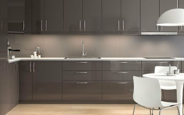 grey high gloss kitchen doors Ikea Ringhult Gloss Grey Kitchen Cabinet Doors and Drawer