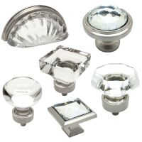 Cosmas Clear-Satin Nickel Glass Cabinet Knobs, Cup Pulls ...