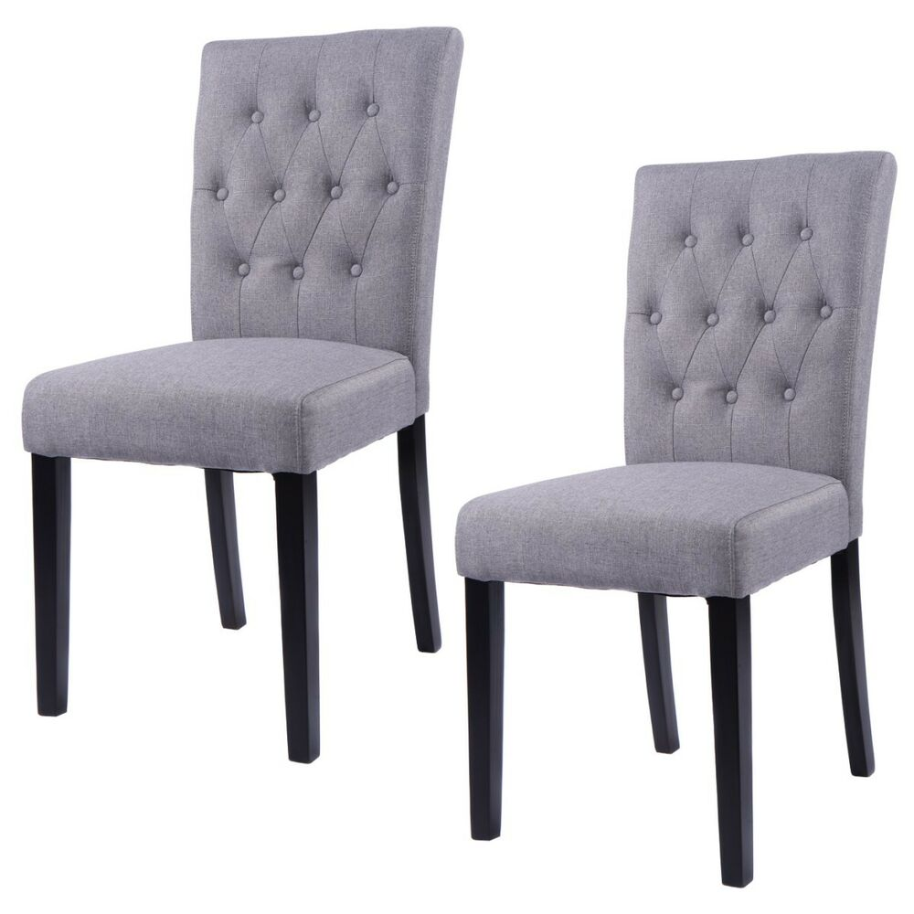 Set of 2 Fabric Dining Chair Armless Chair Home Kitchen
