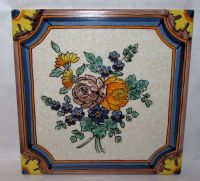 """Vintage Semigres 8"""" Hand Painted Floral Ceramic Tile Italy ..."""