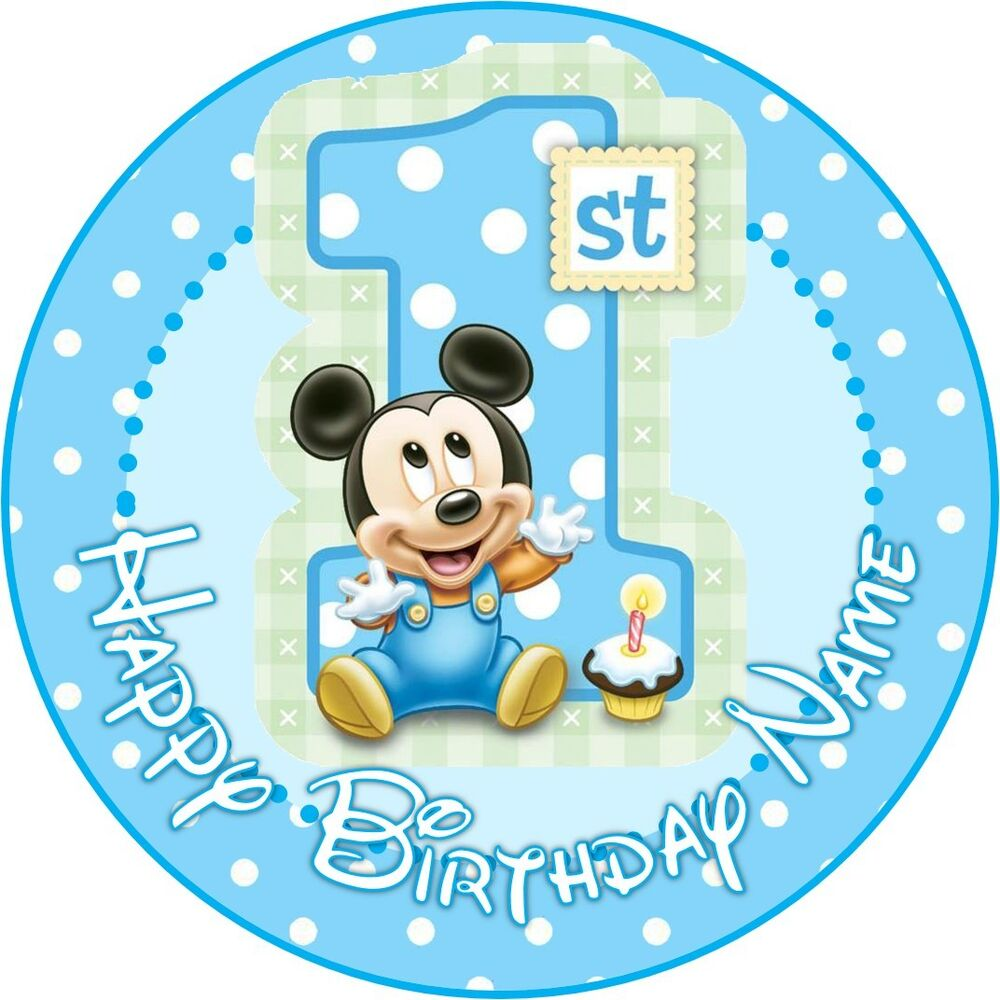 EDIBLE Baby Mickey Mouse Cake Topper 1st Birthday Wafer