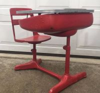 Vintage 1930s Child's School Desk & Chair Wood And Metal ...