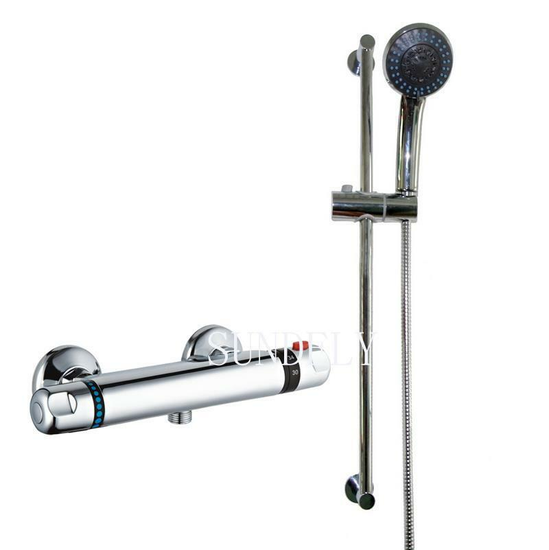 NEW! Thermostatic Shower Bathroom Chrome Bar Mixer Exposed