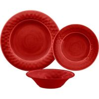 Crackle Glaze 12 Piece Melamine Dinnerware Set in Red by ...