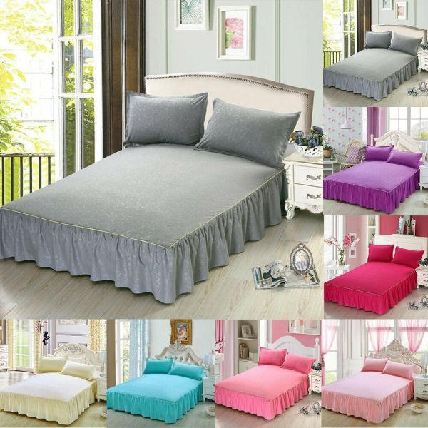 Bed Skirt Fitted Sheet Dust Ruffle Drop Cover With Pillow Cases Twin Queen King