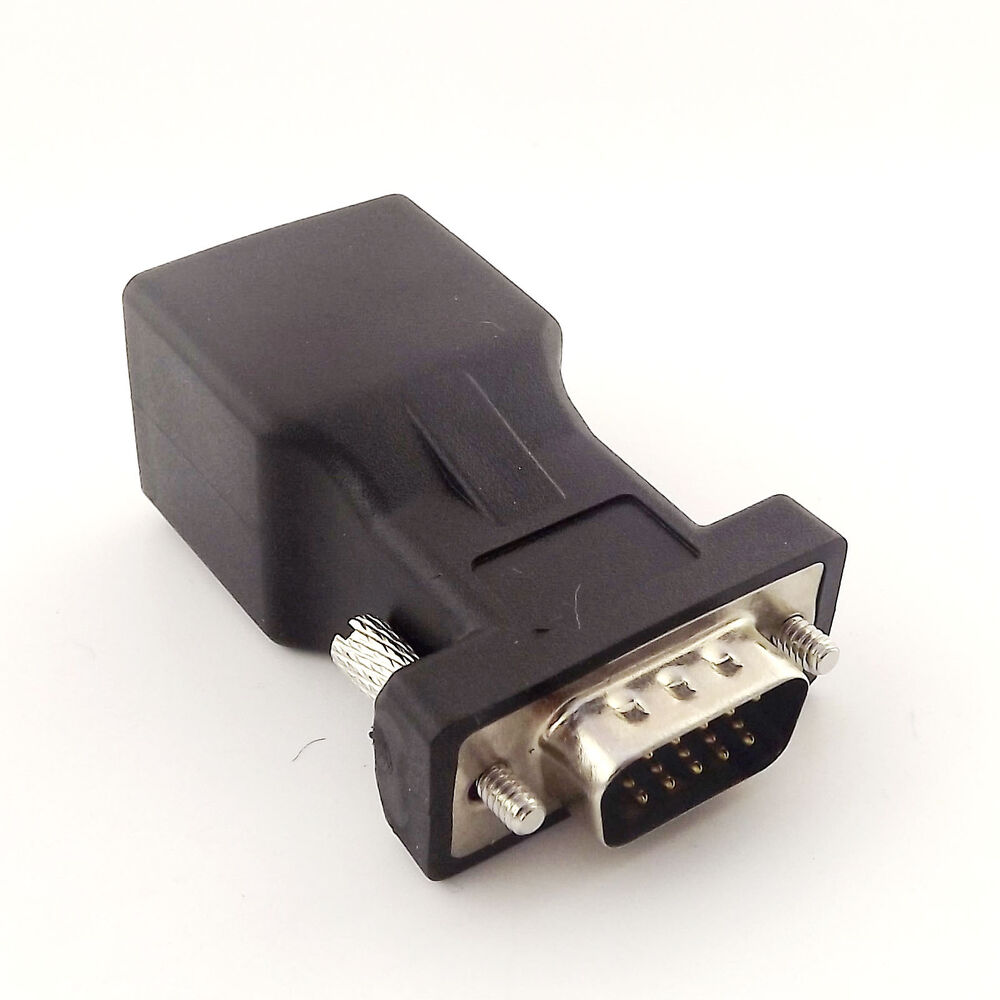 medium resolution of details about db15 vga male to rj45 female extender connector cat5 5e 6 network cable adapter