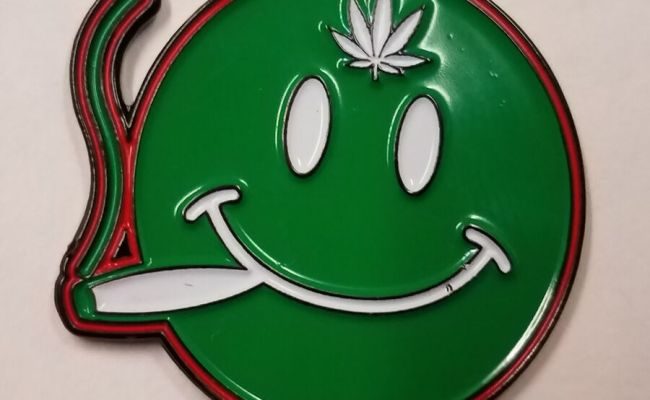 Joint Smoking Smiley Face Hat Pin Brand New Pot Weed