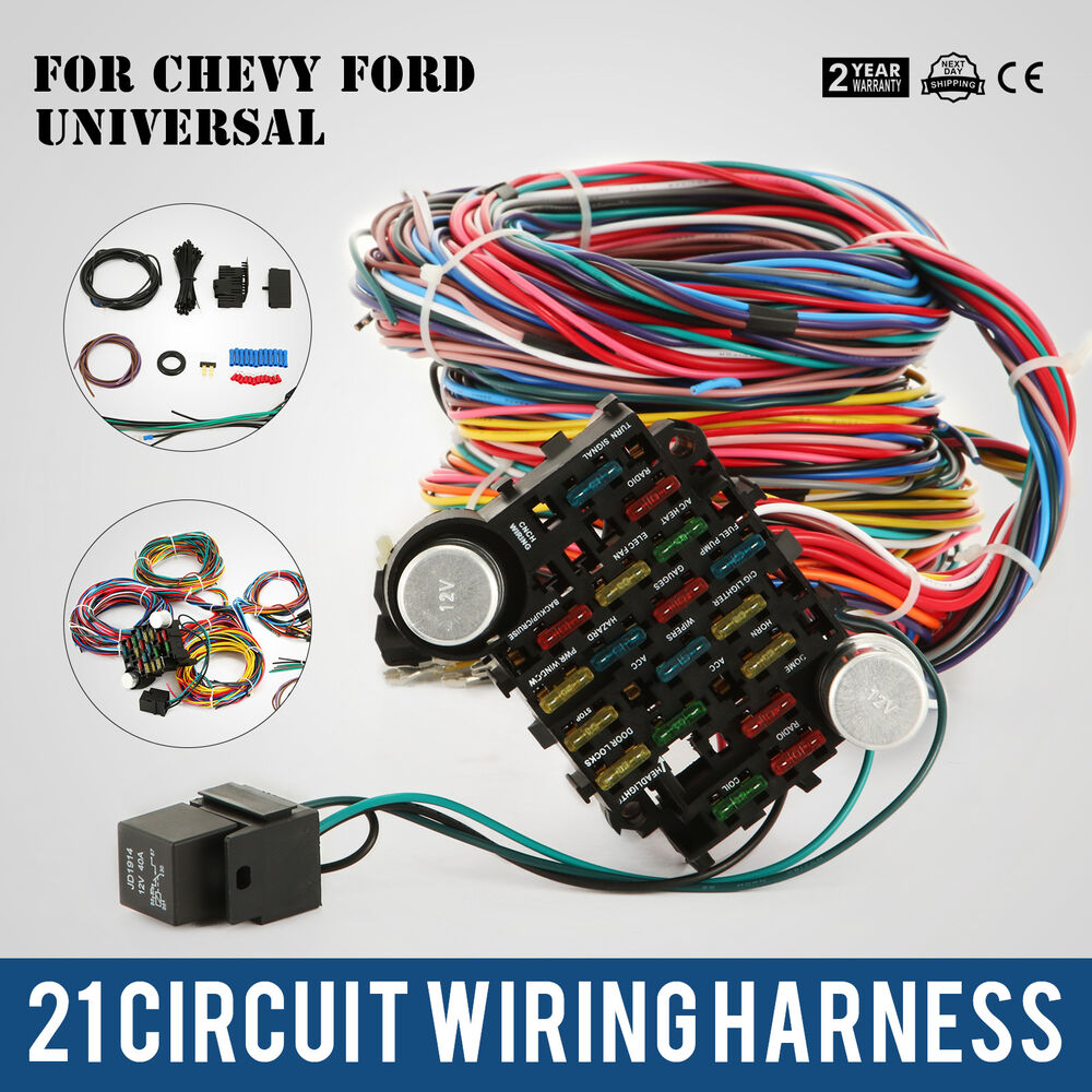 hight resolution of 21 circuit wiring harness fit chevy universal hotrods x long chrysler 800000096580 ebay