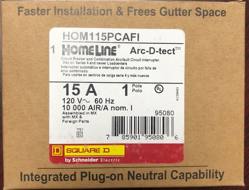 Combo Arc Fault Circuit Breaker 15a Homeline 15a Single Pole Combo Arc