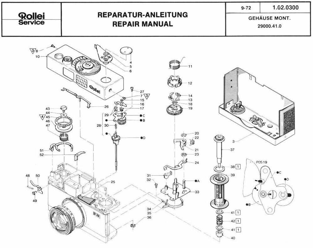 ROLLEI Repair Manual B35 compact 35mm film camera SERVICE