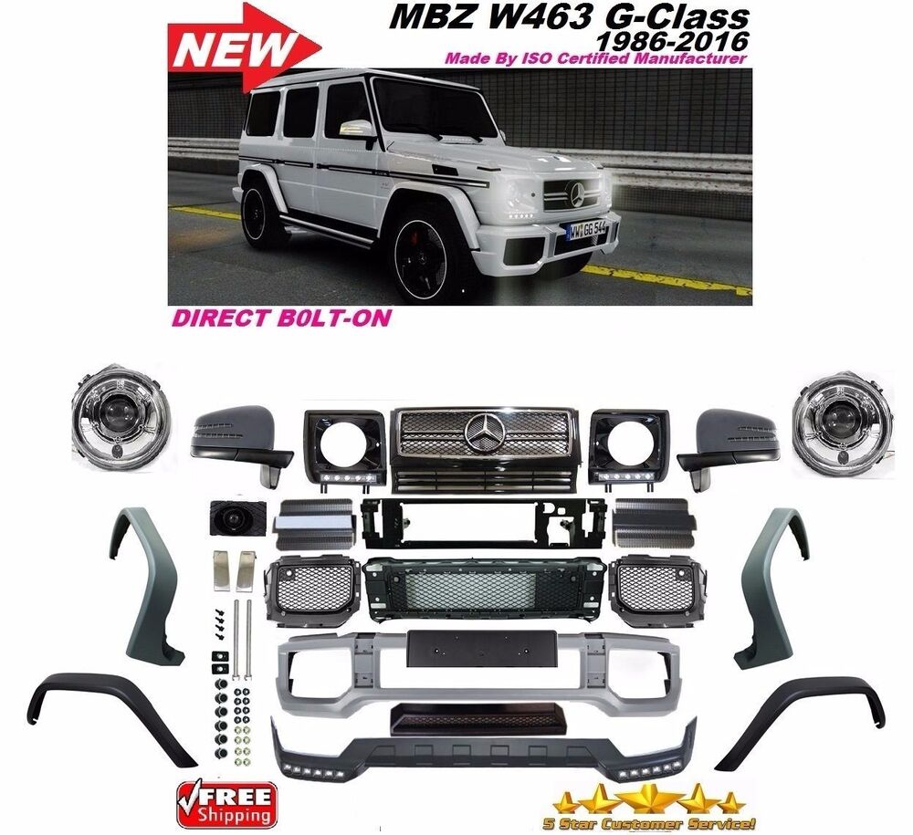 hight resolution of 2002 2016 w463 g63 style front bumper grill flares full conversion g55 g500 g550 12201983 ebay