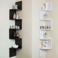 5 Tier Corner Shelf Floating Wall Shelves Storage Display ...