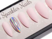 matte baby pink holographic chrome