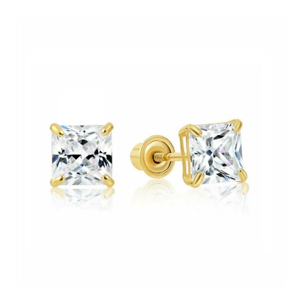 1 2 Carat Princess Cut Diamond Studs Earrings Real 14k Yellow Gold Screw