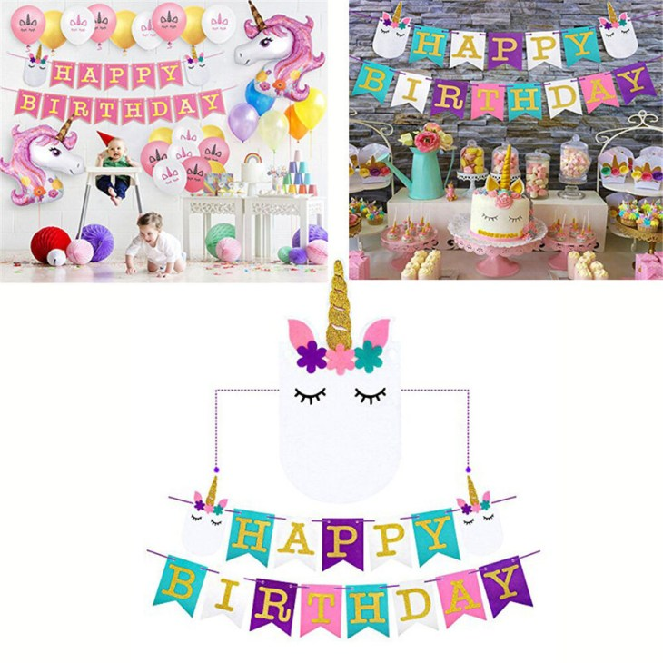 Details about birthday party banner unicorn party supplies baby shower party  flags decor Pip