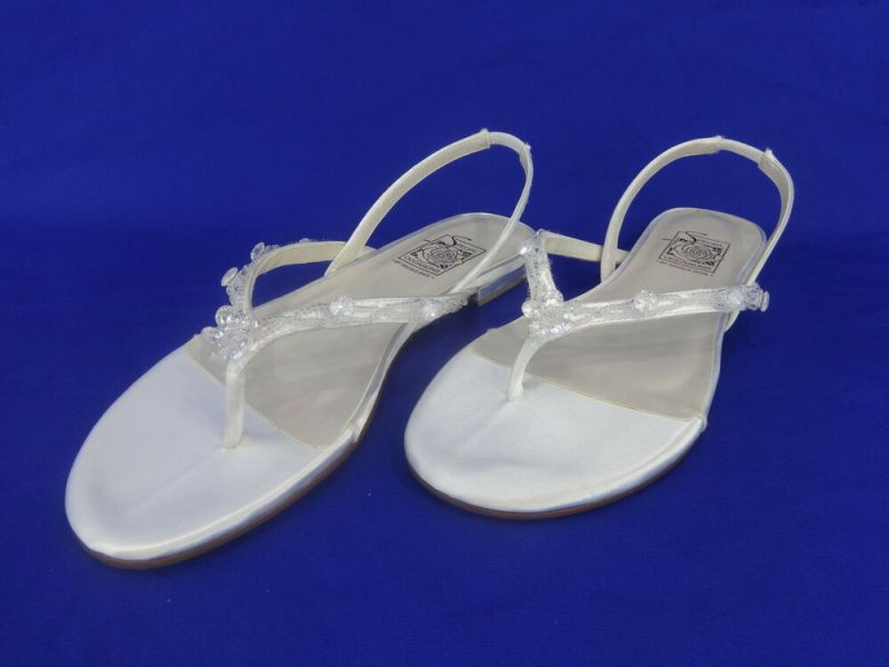 NEW Special Occasions by Saugus Shoe DAISY 1420 White Satin Thong Size: 7 | eBay