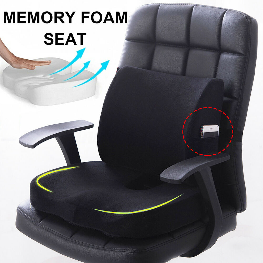 Desk Chair Seat Cushion Memory Foam Lumbar Back Support Pillow Home Office Chair Seat Cushion Orthopedic 6212800725777 Ebay