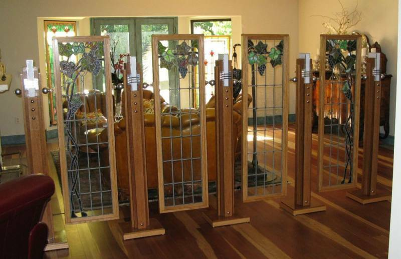 Stained Glass Room Divider Art Deco Mission Screen  eBay