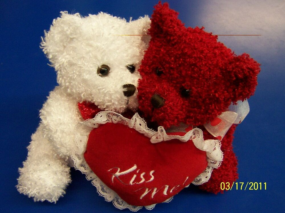 Valentines Day Kiss Me Bears Red White Cute Stuffed