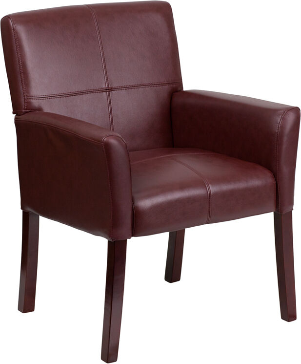 Lot of 10 Burgundy Leather Reception Guest Chairs with