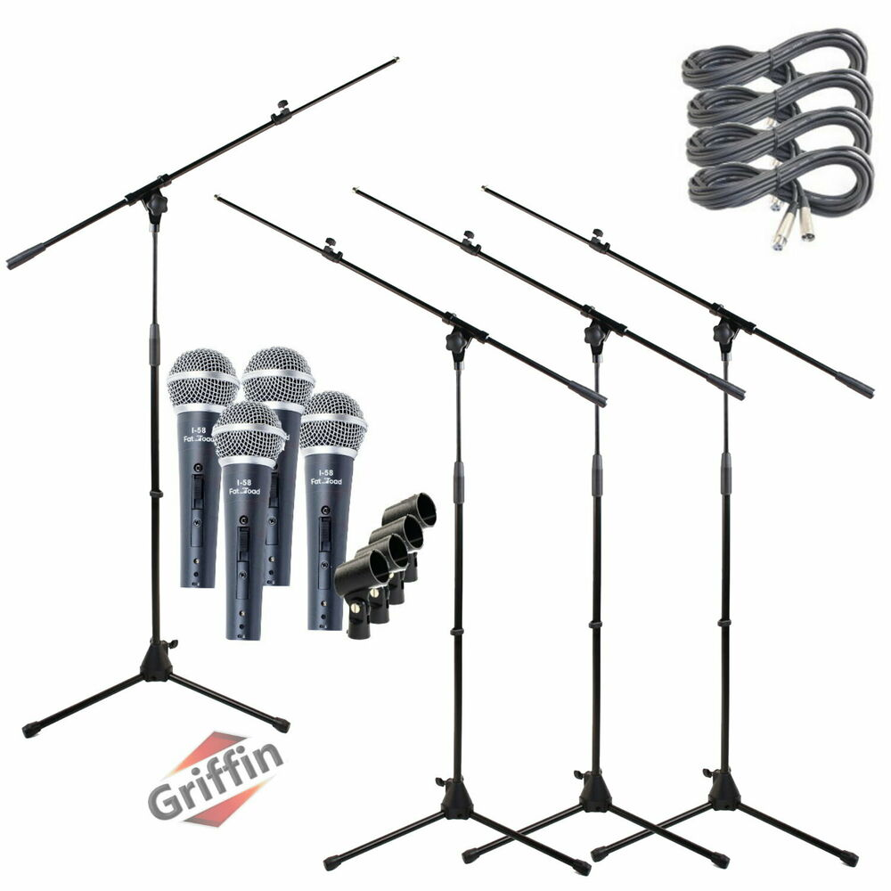 Microphone Boom Arm Stand 4 Pack Holder XLR Cable Cardioid