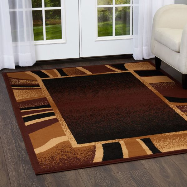 Contemporary Brown Border Area Rug 2x8 Modern Runner