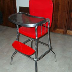 Cosco High Chair Cover French Rattan Bistro Chairs Vintage Metal Chrome Stool Red W/ Vinyl Seat - Newly Painted! | Ebay