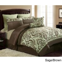 New ~ 8pc Sage and Brown Oversized Damask Comforter Set