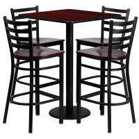Restaurant Table Chairs 30' 'Mahogany Laminate with 4