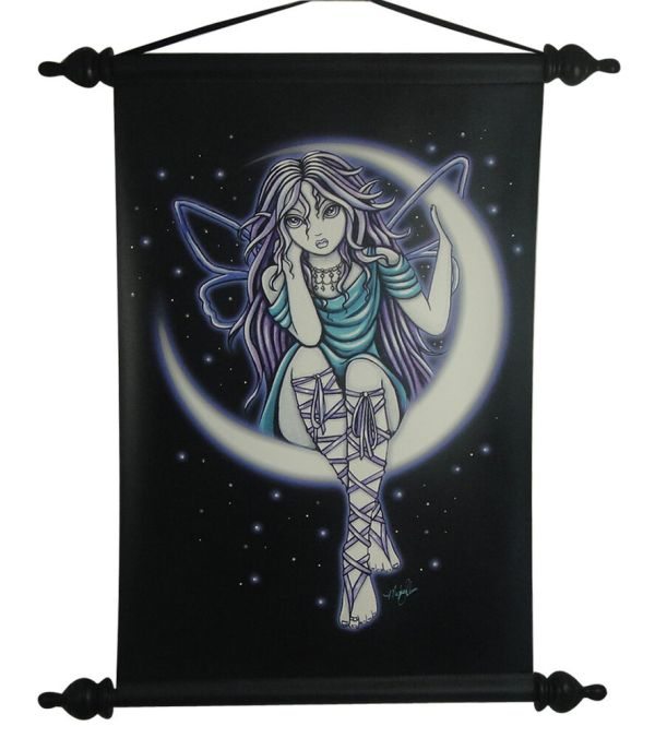 Myka Jelina Venus Moon Winged Fairy Wall Scroll Decor