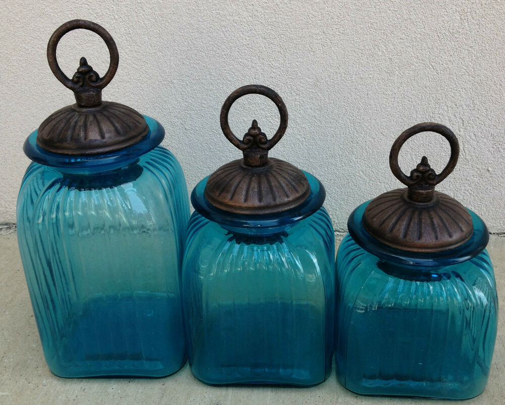 OCEAN BLUE TURQUOISE CANISTER SET WITH BRONZE CIRCLE RING
