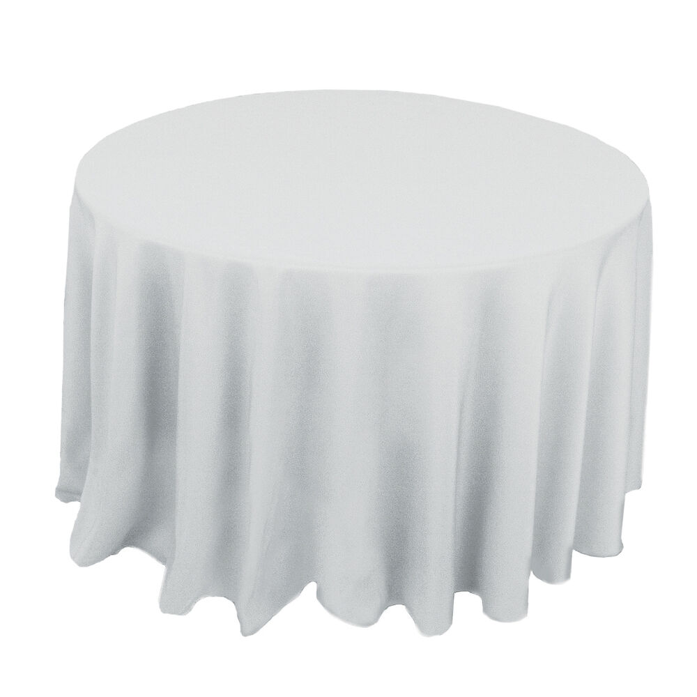 polyester banquet chair covers childrens table and sets plastic white 120 in round tablecloth tablecloths wedding | ebay