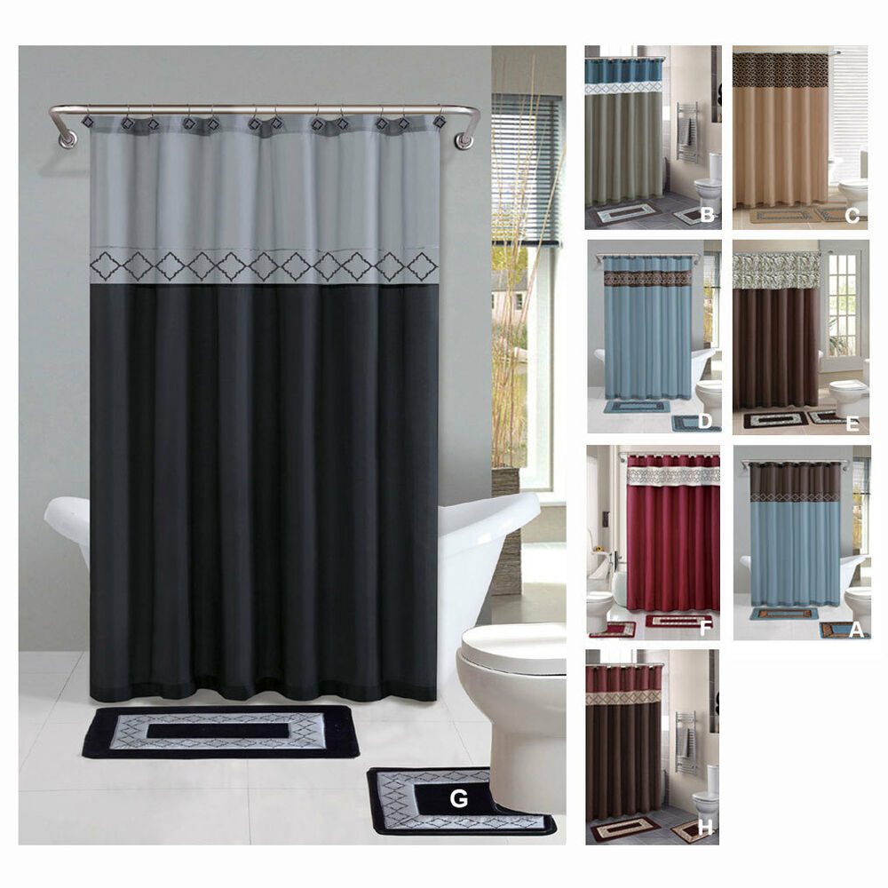 Contemporary Bath Shower Curtain 15 Pcs Modern Bathroom Rug Mat Contour Hook Set  eBay
