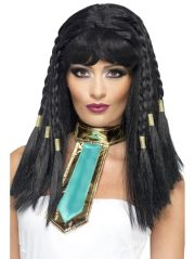 cleopatra long black wig gold braids