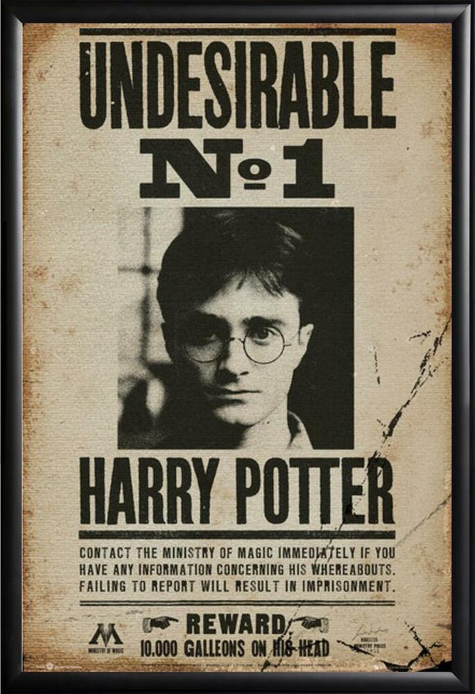 Harry Potter Poster Most Wanted in Premium Black Wood Frame 24x36   eBay