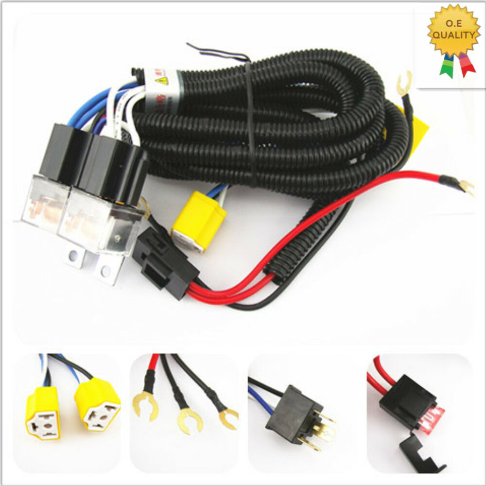medium resolution of details about h4 headlight 2 head lamp relay socket plug wiring harness set fix dim lights