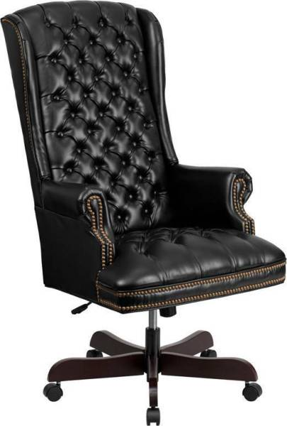 traditional leather office chair HIGH BACK TRADITIONAL TUFTED BLACK LEATHER EXECUTIVE OFFICE CHAIR | eBay