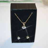 Round Diamond Alternatives Solitaire Pendant Necklace Stud
