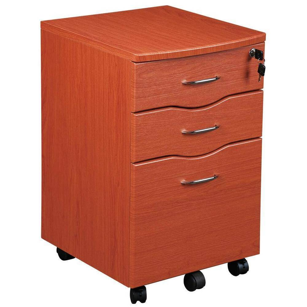 Rolling File Cabinet Dark Honey  eBay