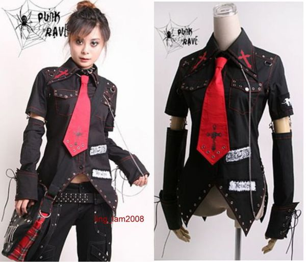 Unisex Visual Kei Punk Gothic Kera Lolita Shirt Top Blouse