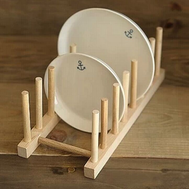 Kitchen Dish Plate Rack Holder Stand Wooden Wood Plates